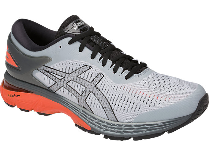Front Right view of GEL-KAYANO 25, MID GREY/RED SNAPPER