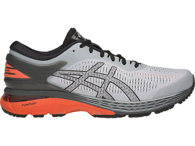 Right side view of GEL-KAYANO 25, MID GREY/RED SNAPPER