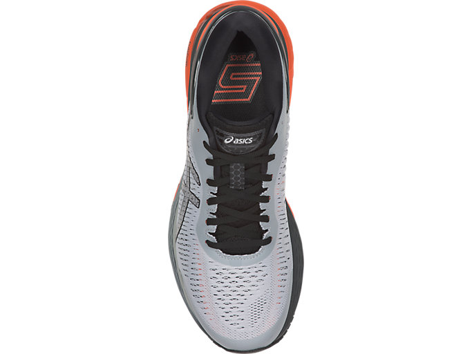 Top view of GEL-KAYANO 25, MID GREY/RED SNAPPER