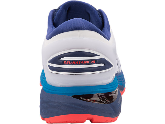 Back view of GEL-KAYANO 25, WHITE/BLUE PRINT