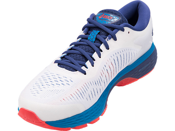 Front Left view of GEL-KAYANO 25, WHITE/BLUE PRINT
