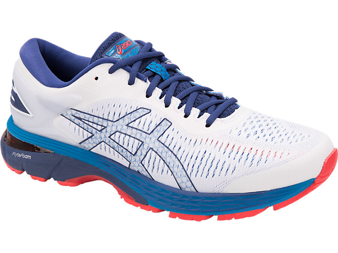 Front Right view of GEL-KAYANO 25, WHITE/BLUE PRINT