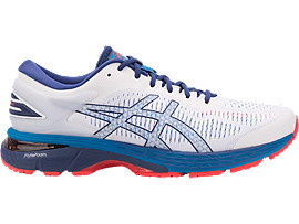 Right side view of GEL-KAYANO 25, WHITE/BLUE PRINT