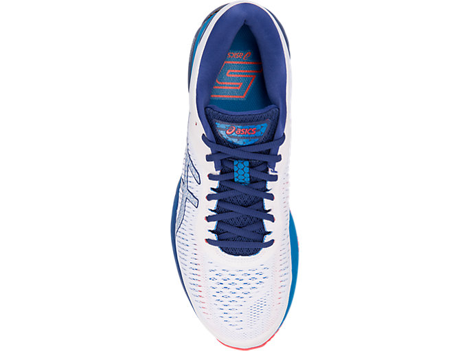 Top view of GEL-KAYANO 25, WHITE/BLUE PRINT