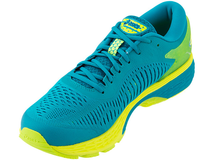 Front Left view of GEL-KAYANO 25, LAGOON/DEEP AQUA
