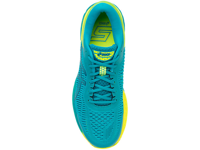 Top view of GEL-KAYANO 25, LAGOON/DEEP AQUA