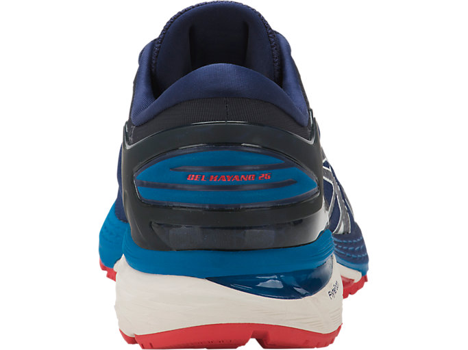 Back view of GEL-KAYANO 25, INDIGO BLUE/CREAM