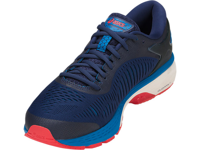 Front Left view of GEL-KAYANO 25, INDIGO BLUE/CREAM