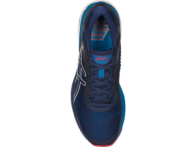 Top view of GEL-KAYANO 25, INDIGO BLUE/CREAM