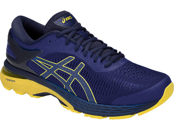 Front Right view of GEL-KAYANO 25, ASICS BLUE/LEMON SPARK