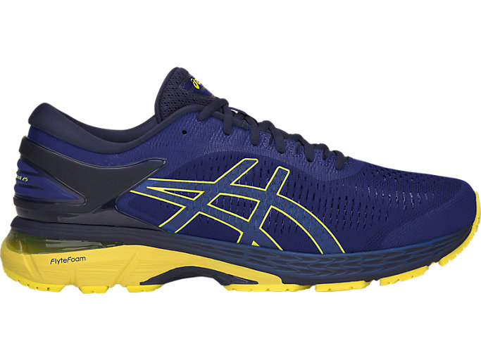 Right side view of GEL-KAYANO 25, ASICS BLUE/LEMON SPARK