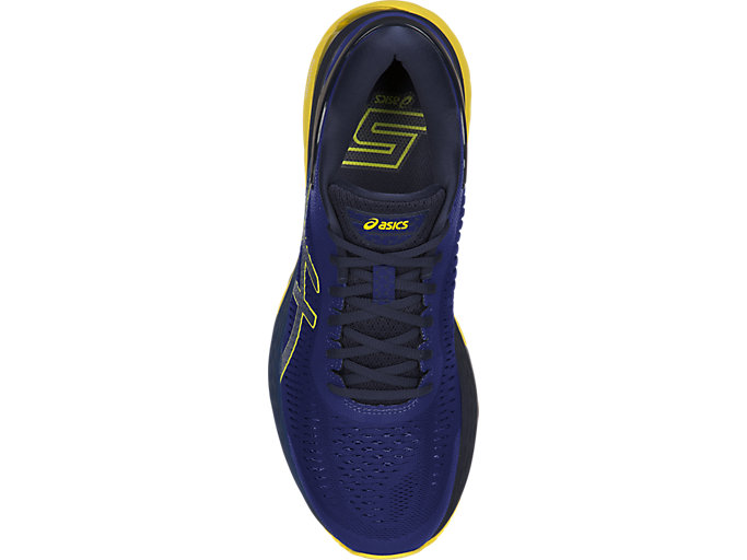 Top view of GEL-KAYANO 25, ASICS BLUE/LEMON SPARK