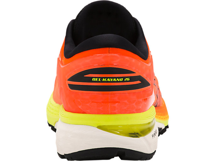 Back view of GEL-KAYANO 25, SHOCKING ORANGE/BLACK