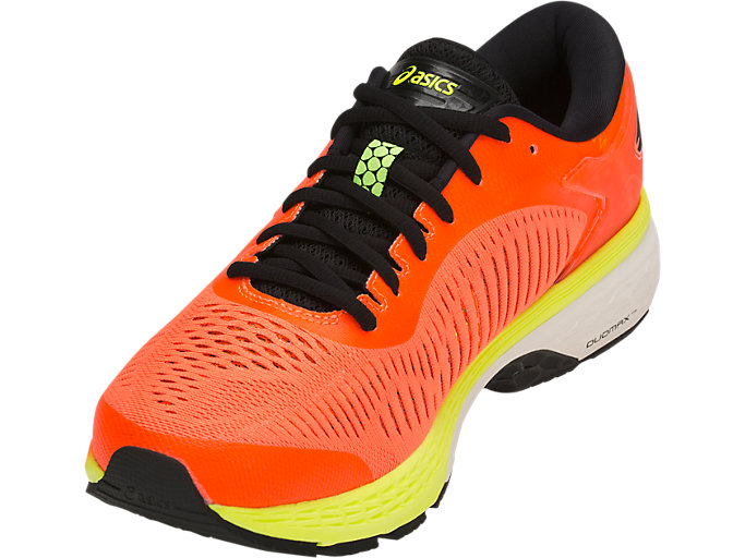 Front Left view of GEL-KAYANO 25, SHOCKING ORANGE/BLACK