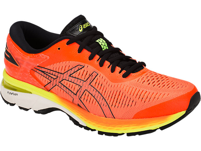 Front Right view of GEL-KAYANO 25, SHOCKING ORANGE/BLACK