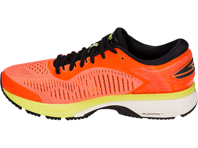 Left side view of GEL-KAYANO 25, SHOCKING ORANGE/BLACK