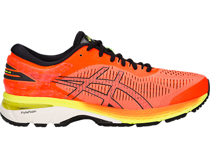 Right side view of GEL-KAYANO 25, SHOCKING ORANGE/BLACK