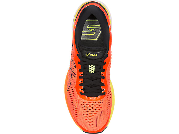 Top view of GEL-KAYANO 25, SHOCKING ORANGE/BLACK