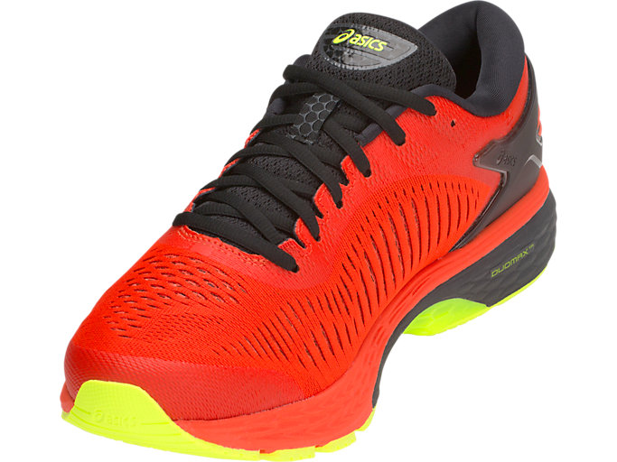 Front Left view of GEL-KAYANO 25, CHERRY TOMATO/SAFETY YELLOW