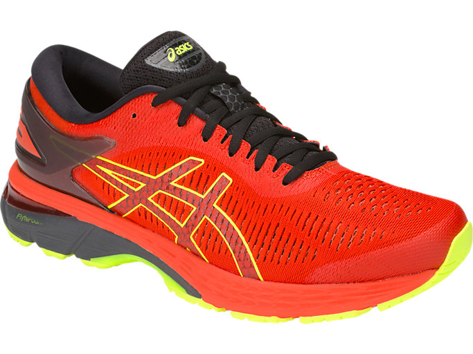 Front Right view of GEL-KAYANO 25, CHERRY TOMATO/SAFETY YELLOW
