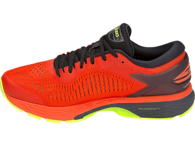 Left side view of GEL-KAYANO 25, CHERRY TOMATO/SAFETY YELLOW