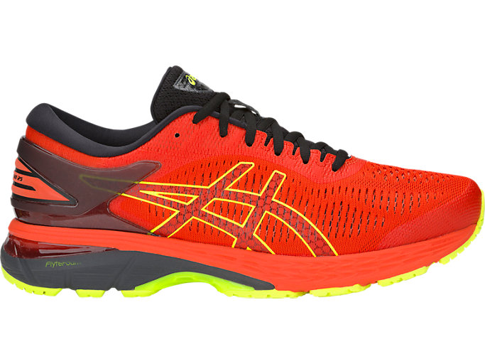 Right side view of GEL-KAYANO 25, CHERRY TOMATO/SAFETY YELLOW