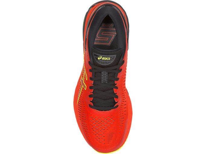 Top view of GEL-KAYANO 25, CHERRY TOMATO/SAFETY YELLOW