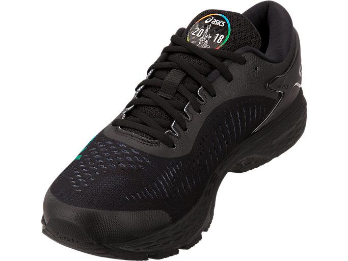 Front Left view of GEL-KAYANO 25 NYC, BLACK/BLACK
