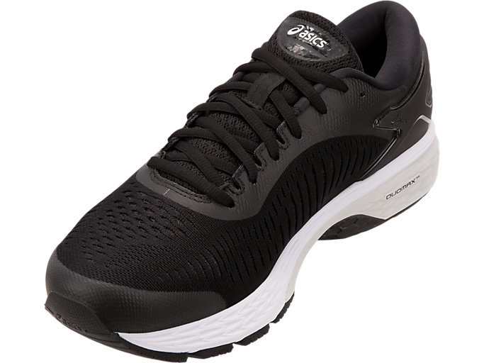 Front Left view of GEL-KAYANO 25 WIDE, BLACK/GLACIER GREY