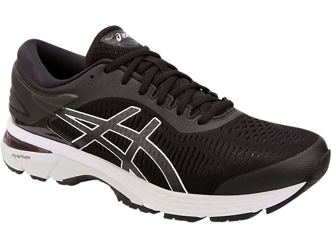 Front Right view of GEL-KAYANO 25 WIDE, BLACK/GLACIER GREY