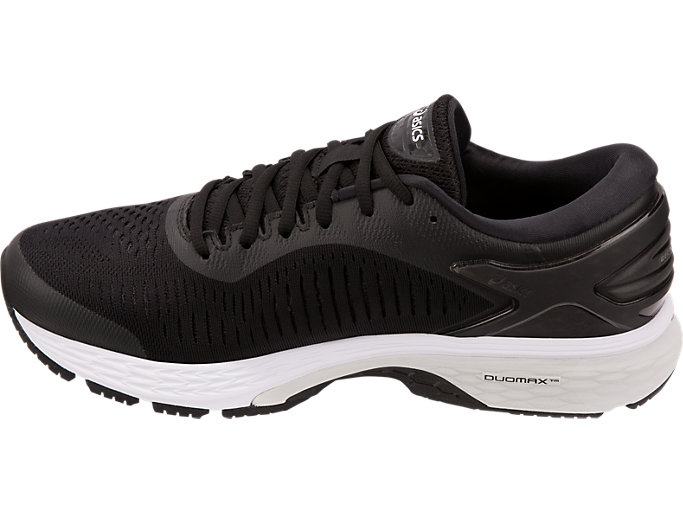 Left side view of GEL-KAYANO 25 WIDE, BLACK/GLACIER GREY