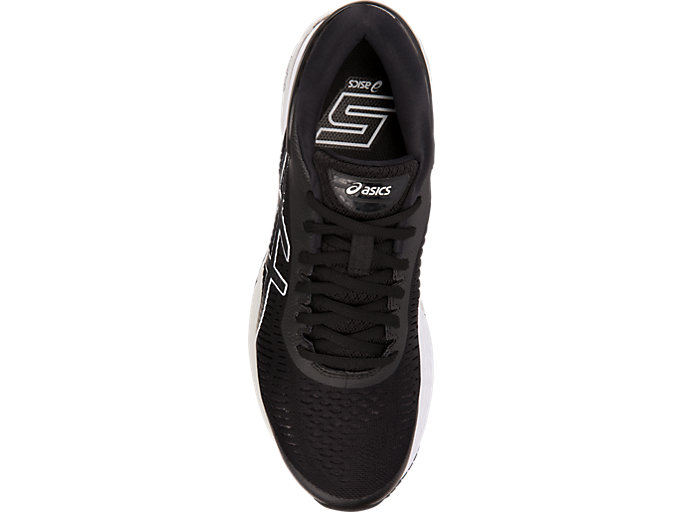 Top view of GEL-KAYANO 25 WIDE, BLACK/GLACIER GREY