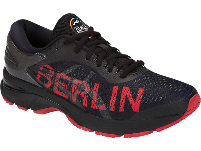 Front Right view of GEL-KAYANO 25 BERLIN, BLACK/CLASSIC RED