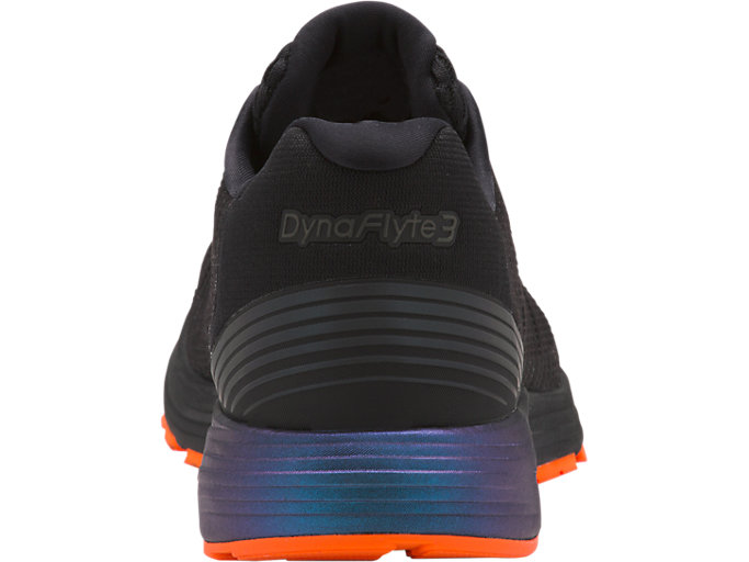 Back view of DYNAFLYTE 3 LITE-SHOW, BLACK/SHOCKING ORANGE