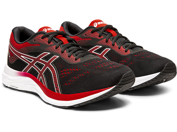 Front Right view of GEL-EXCITE™ 6, BLACK/SPEED RED