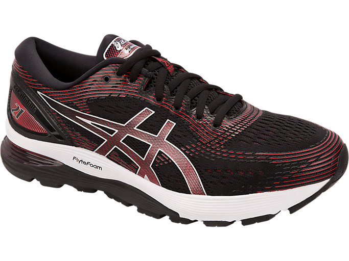 Front Right view of GEL-NIMBUS™ 21, BLACK/CLASSIC RED