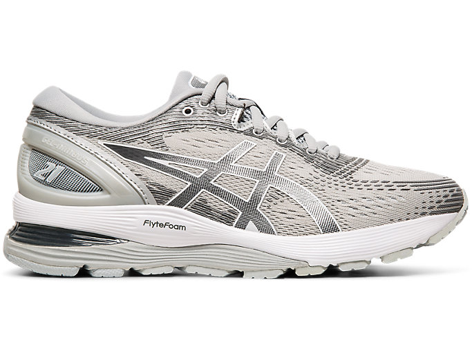 Right side view of GEL-NIMBUS 21, MID GREY/SILVER