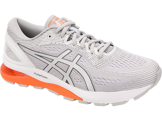 Front Right view of GEL-NIMBUS 21, MID GREY/WHITE