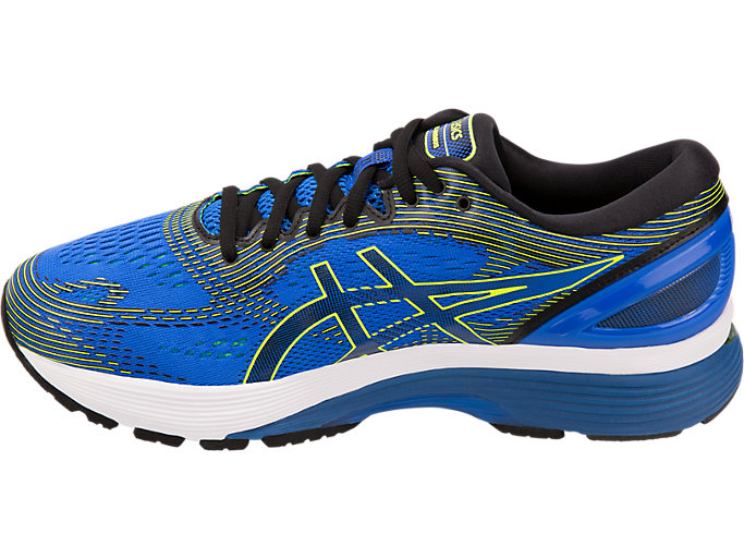 Left side view of GEL-NIMBUS 21, ILLUSION BLUE/BLACK