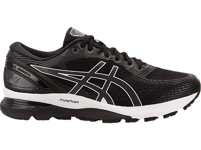 Right side view of GEL-NIMBUS 21, BLACK/DARK GREY