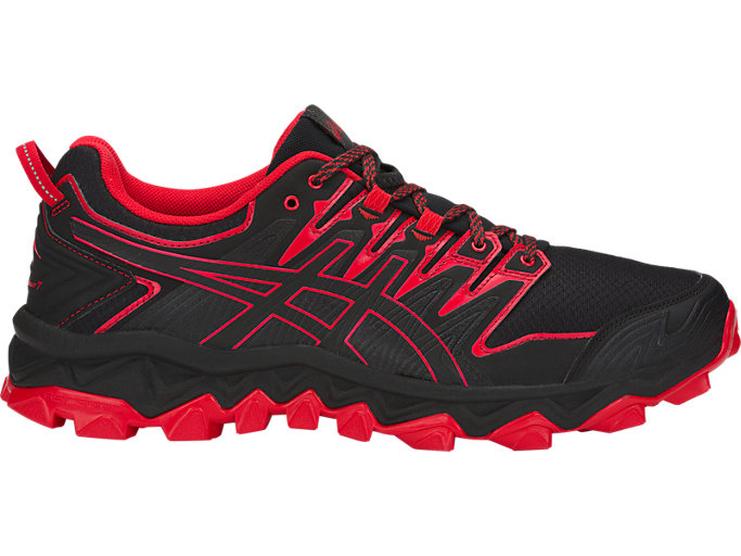 Right side view of ASICS GEL-FUJITRABUCO 7 hardloopschoenen voor heren, BLACK/CLASSIC RED
