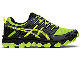 Right side view of ASICS GEL-FUJITRABUCO 7 running shoes for men, GREEN GECKO/BLACK