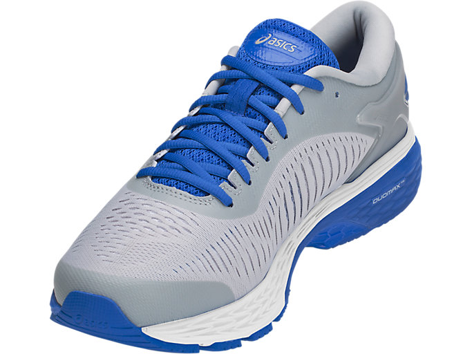 Front Left view of GEL-KAYANO 25 LITE-SHOW, MID GREY/ILLUSION BLUE