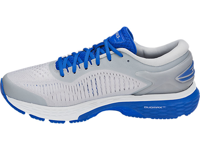 Left side view of GEL-KAYANO 25 LITE-SHOW, MID GREY/ILLUSION BLUE