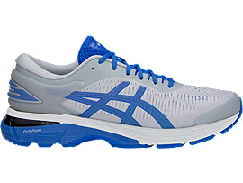 Right side view of GEL-KAYANO 25 LITE-SHOW, MID GREY/ILLUSION BLUE