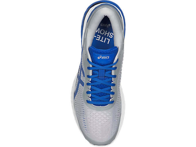Top view of GEL-KAYANO 25 LITE-SHOW, MID GREY/ILLUSION BLUE