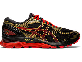 Right side view of GEL-NIMBUS 21, BLACK/CLASSIC RED