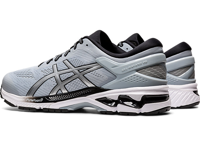 Front Left view of GEL-KAYANO 26, PIEDMONT GREY/PURE SILVER