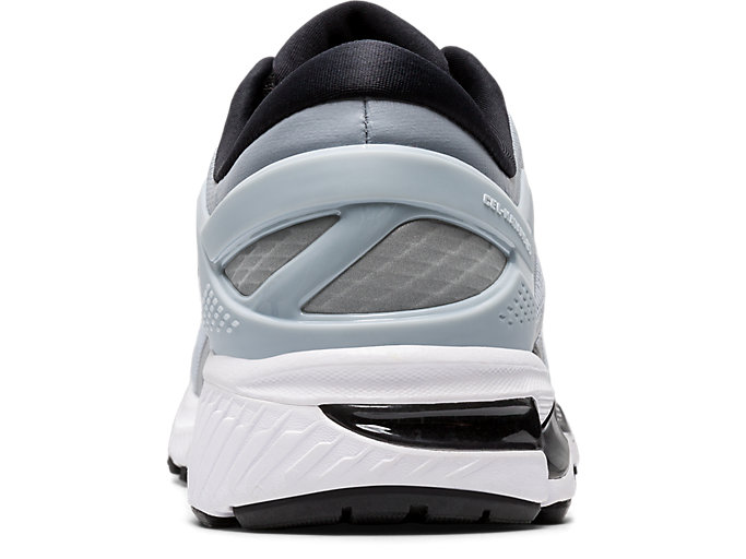 Back view of GEL-KAYANO 26, PIEDMONT GREY/PURE SILVER
