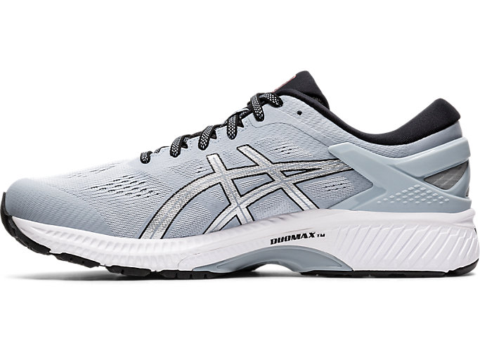 Left side view of GEL-KAYANO 26, PIEDMONT GREY/PURE SILVER